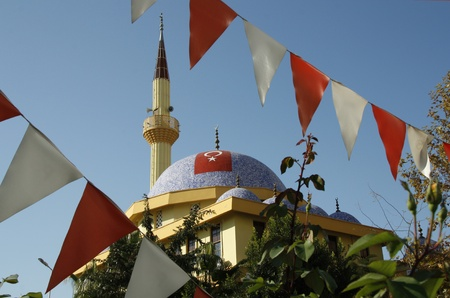 prayer tower: Beautiful view of Mosque in Antalya, Turkey