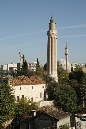 Old city view and the Ancient Yivli Minaret, Antalya, Turkey photo
