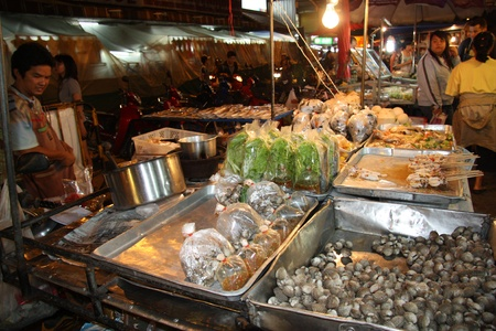 Street food at famous Night Market in Chiang Mai city, Thailand - 25.07.2011
