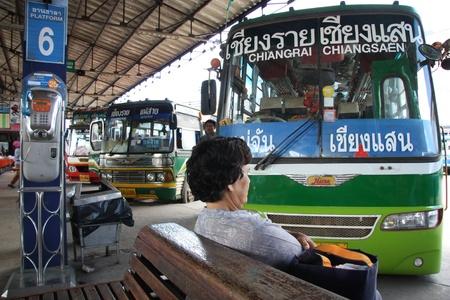 Interurban bus Chiang Rai - Chiangsaen, bus station in Chiang Rai, Thailand - 28.07.2011 Editorial