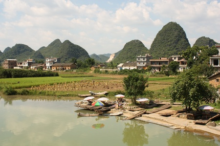 Beautiful Chinese landscape of Yangshuo with river and water meadows photo