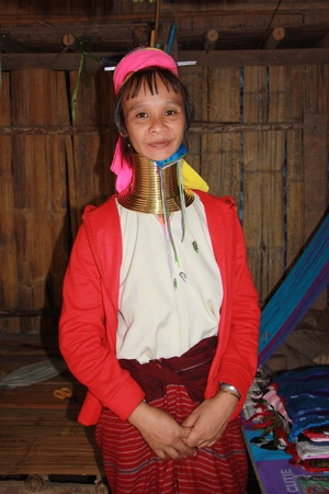 Kayan woman of the group of Karen people, Northern Thailand, Chiang Mai - 31.07.2011 Stock Photo - 13063922
