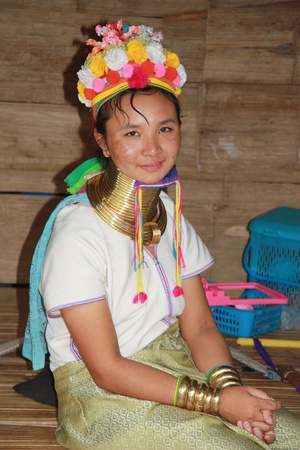 stitchwork: Kayan woman of the group of Karen people, Northern Thailand, Chiang Mai - 31.07.2011