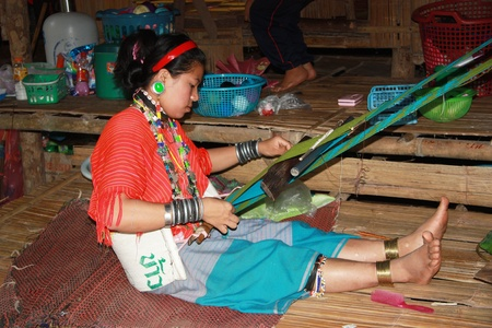stitchcraft: Kayan woman of the group of Karen people, Northern Thailand, Chiang Mai - 31.07.2011