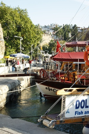 Embankment of Antalya with tourist boats, Turkey - 30.11.2011 Stock Photo - 12903628