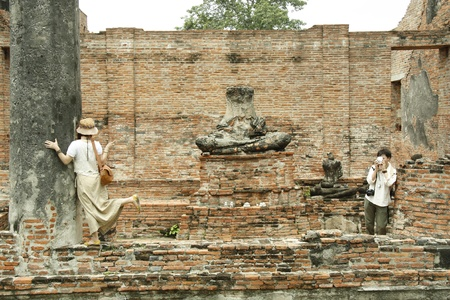 cultural history: Couple travelling in Ruins of Ancient Ayutthaya, Thailand - 03.08.2011 Editorial