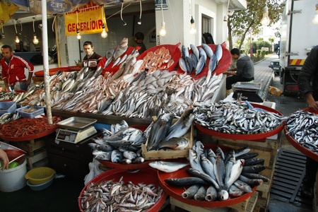 street vendor: Fresh fish at the market, Antalya, Turkey - 27.11.2011