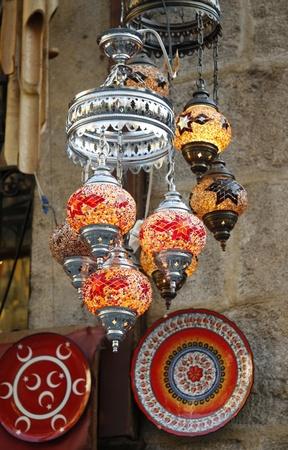 Oriental Turkish lamp in old bazaar photo