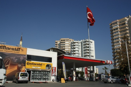 pumping: Gas station and Continental tires store in Antalya, Turkey - 29.11.2011