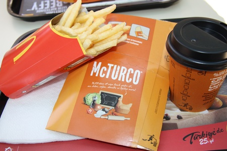 Turkish McDonalds meal with fries and Coffee, Antalya, Turkey