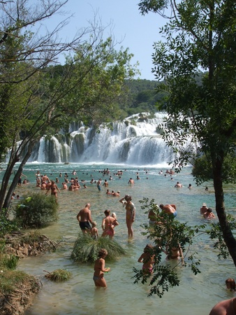 motton blue: People bathe at Amazing KRKA Waterfall in Croatia - 10.08.2009