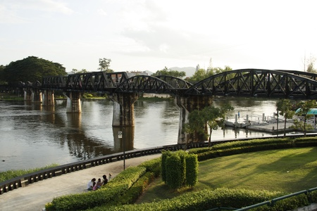 The Death Railway Bridge over Kwai river, Thailand photo