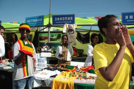 jamaican flag: Ethiopian and Jamaican students in traditional clothes during The International Culture Day in Russian University of Peoples Friendship in Moscow - 04.05.2012 Editorial