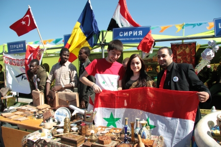 Syrian students present their country during The International Culture Day in Russian University of Peoples Friendship in Moscow - 04.05.2012 Stock Photo - 13652227