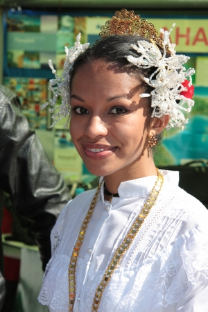 Panamanian girl in traditional clothes during The International Culture Day in People