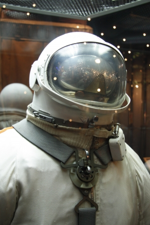 The Soviet spacesuit in the Astronautics museum in Moscow, Russia