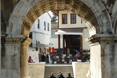 main gate: Hadrians gate in old town of Antalya, Turkey - 02.12.2011