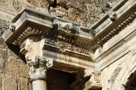 main gate: Corinthian order of Hadrian s gate in old town of Antalya, Turkey