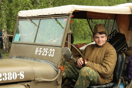 guerrilla warfare: War Reconstruction during the Victory Victory Day in Moscow, Russia - 09.05.2012