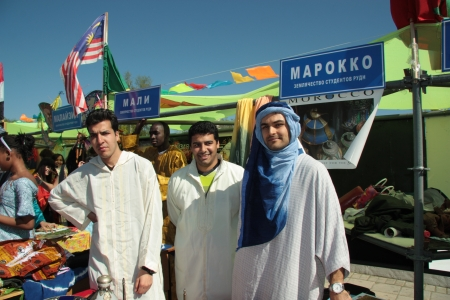 Moroccan students in traditional clothes during The International Culture Day in Russian University of Peoples Friendship in Moscow - 04.05.2012