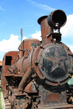 Antique locomotive at the narrow-gauge railway, Museum of Locomotives in Pereslavl, Russia