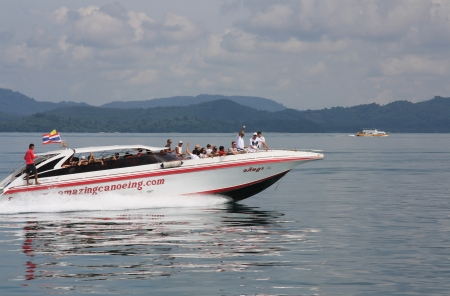 motor launch: People on board of the speed boat travelling in Andaman Sea, Thailand - 09.08.2011 Editorial