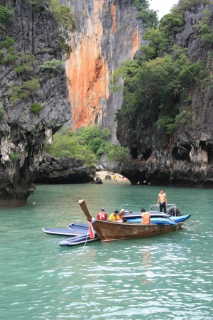 Long tail boat in a Beautiful lagoon, Phi Phi Island, Thailand - 10.08.2011