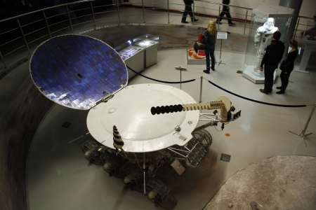 People in the Astronautics museum in Moscow, Russia - 14.01.2012