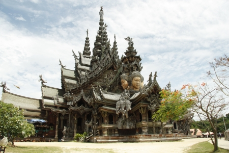 sanctuary: Amazing wooden curved Temple  Sanctuary of Truth  - Landmark of Pattaya in Thailand