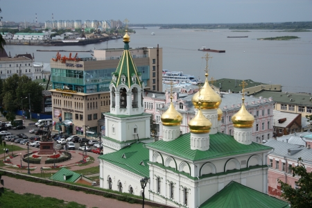 Nizhny Novgorod view with Volga river and John the Baptist church, Russia - 07.08.2012