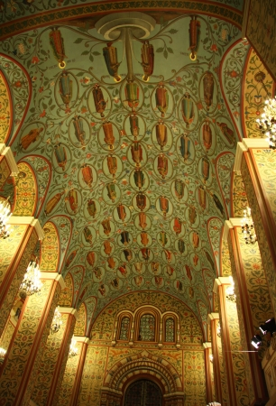 Ceiling interior in a Moscow State Historical Museum at the Red Square, Moscow, Russia. Genealogy of Russian Kings