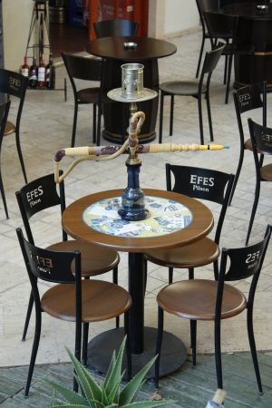 Shisha Pipe in a glass wooden table in the outdoor cafe, Antalya, Turkey