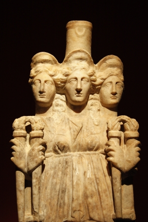 Hecate goddess marble antique sculpture in Archaeological Museum of Antalya, Turkey Editorial
