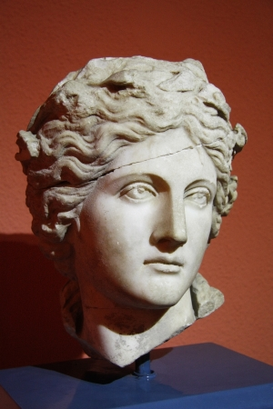 Beautiful greek antique head sculpture of young man, Antalya Archaeological Museum, Turkey
