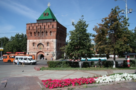 Dmitrovskaya Tower of Nizhny Novgorod Kremlin at the Minin and Pozharsky Square, Russia - August 07th, 2012