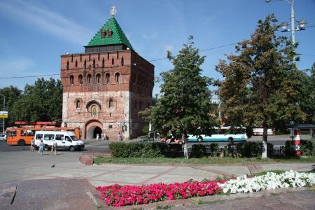 gorky: Dmitrovskaya Tower of Nizhny Novgorod Kremlin at the Minin and Pozharsky Square, Russia - August 07th, 2012