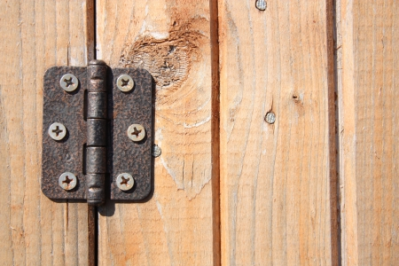 Door hinge on wooden door photo