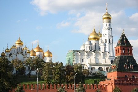 The Ivan the Great Bell Tower and Archangel Cathedral of Moscow Kremlin, Russia