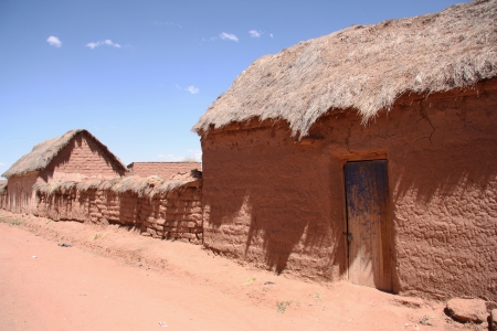 mud house: Traditional village with clay buildings in Bolivian Altiplano, Bolivia