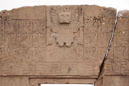 messengers of god: The Gate of the Sun with Viracocha god, Tiwanaku, Bolivia Stock Photo