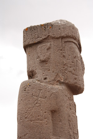 Ancient Monolith Ponce profile in Kalasasaya temple, Tiwanaku, Bolivia photo