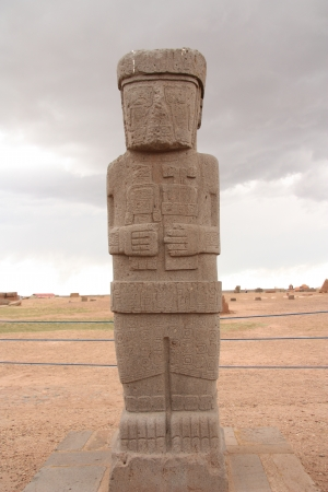 Ancient Monolith Ponce in Kalasasaya temple, Tiwanaku, Bolivia photo