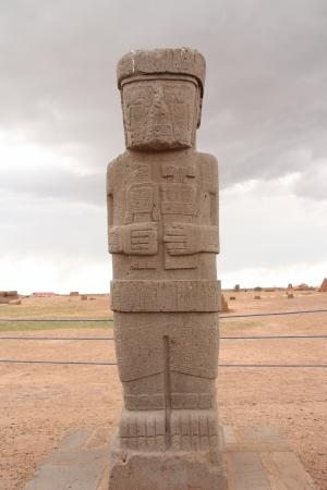 monolith: Ancient Monolith Ponce in Kalasasaya temple, Tiwanaku, Bolivia