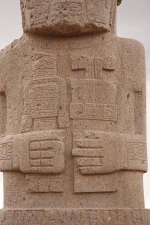 monolith: Ancient Monolith Ponce detail in Kalasasaya temple, Tiwanaku, Bolivia