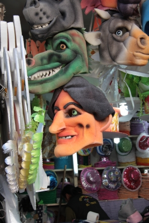 Funny masks of Evo Morales and animals for carnival dancing in street shop in La Paz, Bolivia -31 08 2013 Stock Photo - 24375058