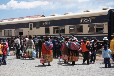 Indian women at the train station in Bolivia, South America - September 08th, 2013