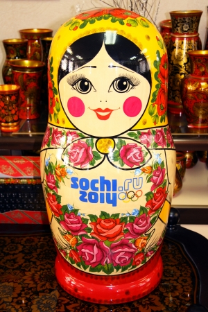 Traditional Russian matryoshka with logo of The Olympic games - Sochi 2014 Stock Photo - 25293938