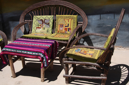 south american: Street Restaurant with inca decoration in Copacabana, Bolivia, South America