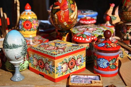 native culture: Traditional Russian wooden painted souvenirs from ancient town Gorodets Stock Photo