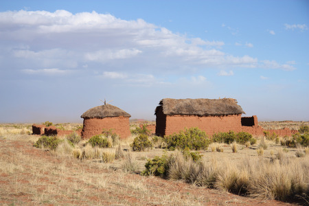 mud house: Traditional clay buildings in Bolivian Altiplano, Bolivia Stock Photo